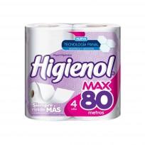 HIGIENOL PAPEL HIGIENICO X4 MAX 80