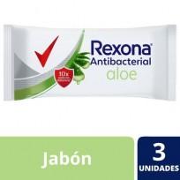 REXONA JABON 3X90g c/u ANTIBACTERIAL ALOE