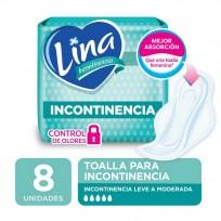 LINA X8 TOALLAS PARA INCONTINENCIA CON ALAS
