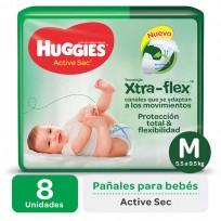 HUGGIES ACTIVE SEC VERDE X8 M